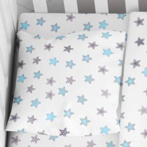 DIMcol ΜΑΞΙΛΑΡΟΘΗΚΗ ΕΜΠΡΙΜΕ ΒΡΕΦ Cotton 100% 35Χ45 Star 104 Sky blue